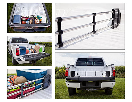 cargo gates, truck bed, storage, luggage, organized, clean, stop from sliding, groceries, golfing, tailgating, truck storage
