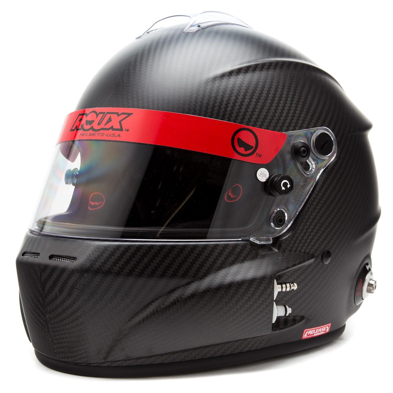 Left Front Diagonal View, Roux - R-1 Carbon Helmet, Flat Carbon, Choose a Size, Pn RXHR1C-15F85